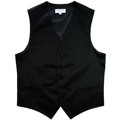 New Men's Formal Tuxedo Vest Waistcoat only solid Black wedding prom 5XL 6XL