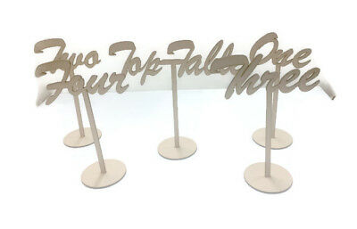 MDF Wooden Wedding, Party Standing Table Numbers, Joined Script Font