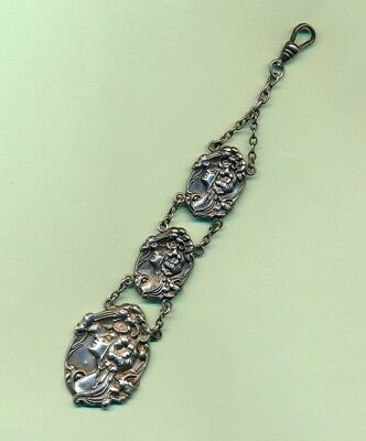 Antique Art Nouveau 3 Flowing Hair Ladies Sterling Silver Pocket Watch Fob