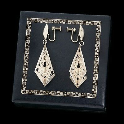 """Antique Vintage Deco Mid Century Sterling Silver Mexican Taxco 2.3"""" Earrings"""