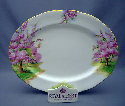 "Royal Albert England Blossom Time Bone China 13"" Oval Meat Serving Platter"
