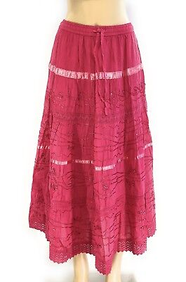100% Cotton Boho Lace Trim Embroidered Tiered Peasant Sweep Skirts NWT 1X 2X 3X
