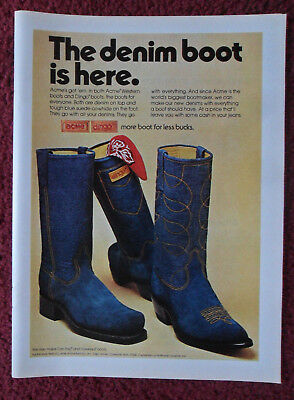 1974 Print Ad ACME DINGO Boots Fashion ~ The Denim Western Suede Boot is Here