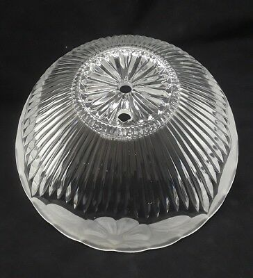 Vintage large light shade ceiling fixture fan clear and frosted glass