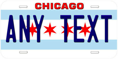 Chicago City Flag Illinois Any Text Personalized Novelty Car License Plate