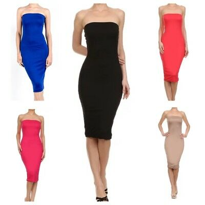 Womens Stretchy Long Strapless Midi Tube Bodycon Dress (S-3X)-USA