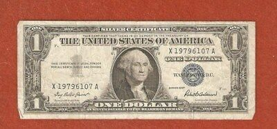 1957 United States Silver Certificate One Dollar Bank Note Well Circulated L899