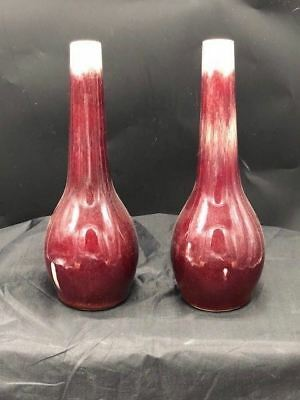 Pair Of Chinese Sang De Beouf Oxblood Vases 8 1/2 Inches Tall