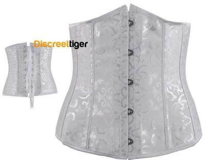 White Corset Underbust Vintage Inspired Victorian Style  Small to Plus