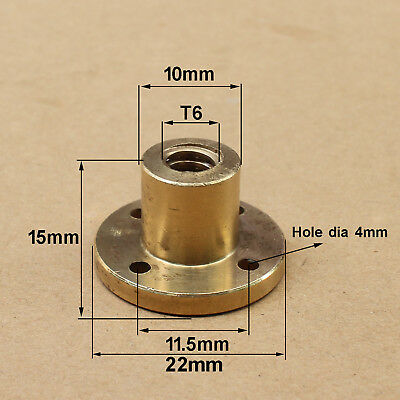 6mm T6 Right Hand Flange Trapezoidal Brass Nut ACME Thread Lead 1 - 12mm Select
