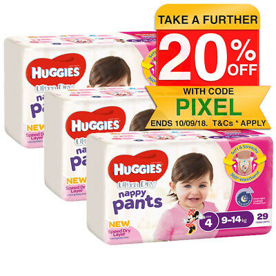Huggies 87PK Nappy Pants/Diapers Toddler/Girls 9-14kg Soft Size 4 Minnie Mouse