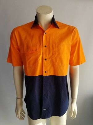 Short Sleeve Cotton Drill Hi Visibility Work Shirt Safety
