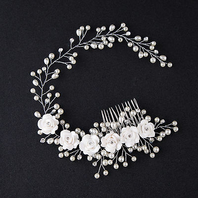 Women Jewelry Bridal Headpiece Hair Pin Clip Flower Faux Pearl Headband Reliable