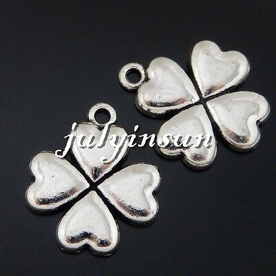 Antique Silver Alloy Heart Shape Flower Pendants Charms Crafts Finding 15x 50464