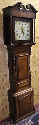 Oak Cabinet 30 hour Grandfather clock -Edward Mathew from Welshpool.Shell Inlay