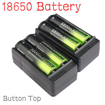 4X 18650 5800mAh Rechargeable Battery Li-ion 3.7V Batteries + 2X Smart Charger