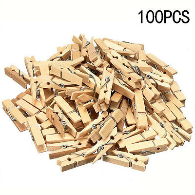 100X Mini Natural Small Wooden Pegs Clip Clamp For Photo Clothing Wedding Party#