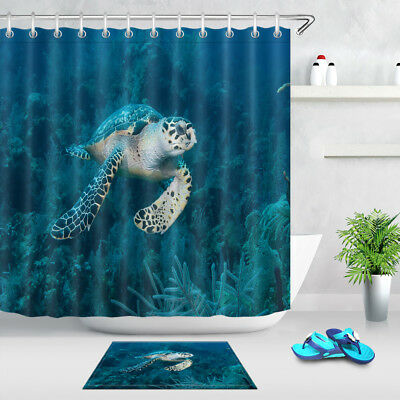 Waterproof Seabed Green Sea Turtle Shower Curtain Bathroom Decor Mat Hooks
