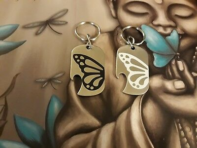 Butterfly Stainless Steel Bottle Opener Keyring With Vinyl Decal-Black or White