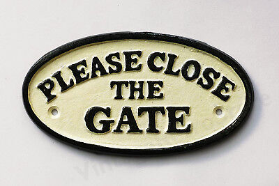 Please Close The Gate Sign Cast Iron 17cm Traditional Plaque Wall Fence Mounting