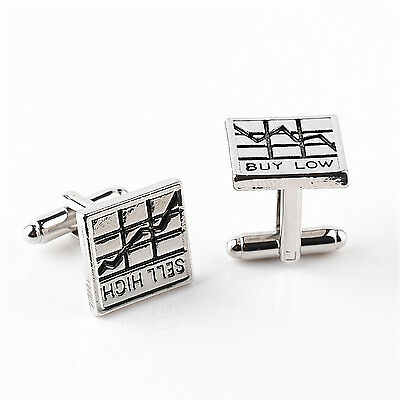 Luxury Square Stock Charts Engraved Cufflinks Silver Cuff Link Mens Wedding Gift