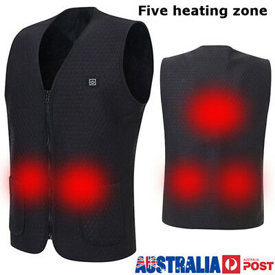 Mens Winter Heated USB Sleeveless Vest Jacket Heating Wind Resistant Coats Warm
