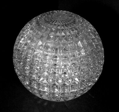"""Vintage Clear Honeycomb Pattern Glass Lamp Globe Round Shade, 5 1/4"""", 2"""" Fitter"""