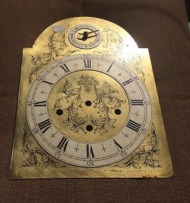 A Very Nice Original Brass/silvered Dial For Grandmother Clock