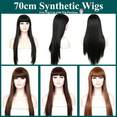 Synthetic Long Sleek Straight Wig with Full Fringe Neat Blunt Bangs Cosplay 70cm