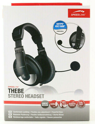 @Speedlink THEBE Stereo Headset Kopfhörer Gaming PC Mikrofon Over Ear 3,5mm 370