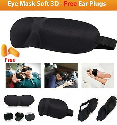 Free Ear Plugs and Eye Mask soft 3D Foam Padded Shade Cover Sleeping Blindfold