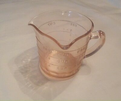 Vintage Kellogg's  3 Spout Pink Depression Measuring Cup