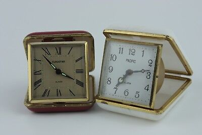 Set Of 2 Vintage Collectible Travel Alarm Clocks Eurostar And Pacific SKU17027