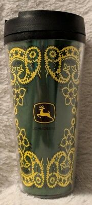 John Deere LP42193 Green Yellow Paisley ThermoServ Hot Cold Tumbler