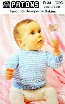Patons Knitting Pattern Book R.34 - FAVOURITE DESIGNS FOR  BABIES - 3 Ply - VGC