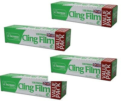 4 x Kitchen/Catering Cling Film! | 300mm Wide x 100m Long! | Food Wrap/Wrapping!