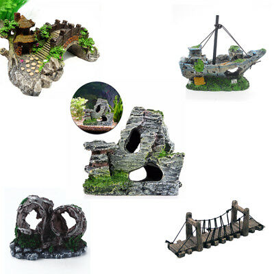 Fish Tank Mountain Bridge Barrel Aquarium Resin Ornament Landscape Decoration