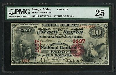 """Fr416 #1437 $10 1875 Nb Of """"bangor, Me"""" Unique For This Bank Pmg 25 Vf Wlm5788"""