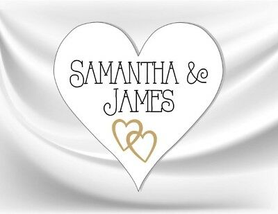 24 Personalised Heart Shaped Wedding Stickers/Labels 3 FOR 2 Envelopes Seals