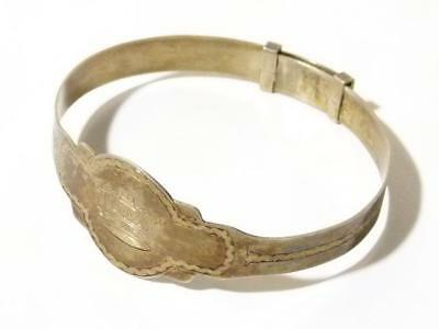 Victorian 19thC Sterling Silver Engraved ROYAL NAVY Crown Sweetheart Bracelet