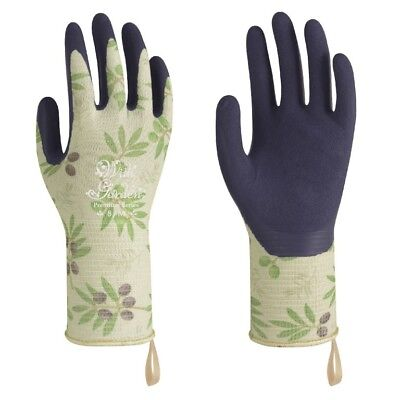 Towa Ladies Gardening Gloves Floral Olive Design Lightweight & Durable (TOW369)