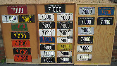 Virginia License plate collection all same number 1924-1954 number 7000