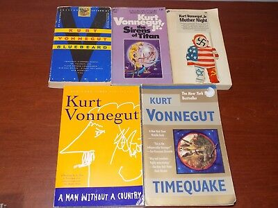 Lot of 5 Kurt Vonnegut, Jr. Books PB Timequake, Bluebeard, Mother Night, Sirens