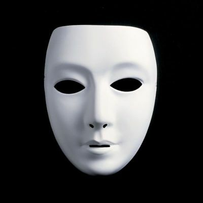 Plastic Theater Prop Cosplay Halloween Party Costume White Mask for Man/Woman