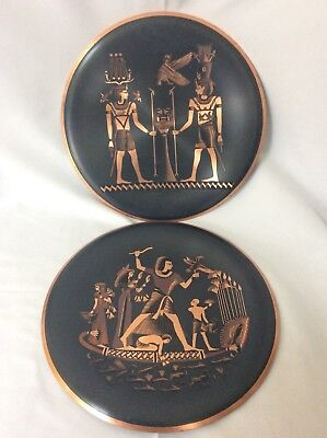 2 Artist Signed Copper Plates Wall Hanging Egyptian Beautifully Handmade Quality