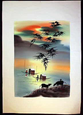 """Japanese Painting on Silk Beautiful Colors 9"""" x 12"""""""