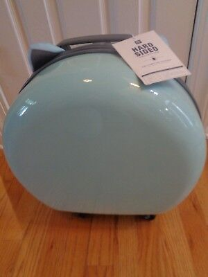 9df0424c72 POTTERY BARN TEEN HARD-SIDED ROUND CAT CARRY-ON-LIGHT AQUA-NEW W ...