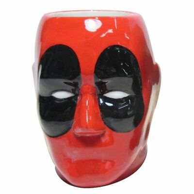 Silver Buffalo Marvel DeadPool 3D Head 20oz Ceramic Mug Coffee Cup, MU7495