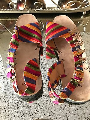 New Handmade Mexican Otomi Sandals Huaraches Leather Shoes Multi color Flats