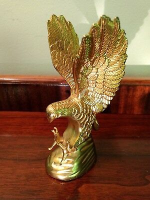 Dramatic Frank Art Era Eagle or Falcon Sculpture Vtg Hawk GoldGilt Brass Bird 5""